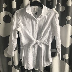 ANTHROPOLOGIE Tie Front Blouse, White, Size 4